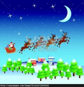 Santa flying in the sky