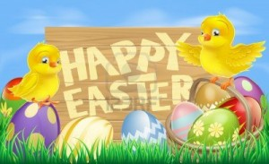 18180152-drawing-of-an-easter-sign-reading-happy-easter-surrounded-by-easter-eggs-and-yellow-cartoon-easter-c