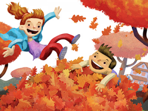 children playing leaves