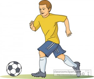 Running with the soccer ball