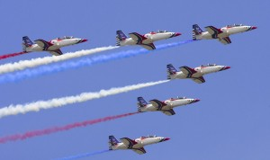 A formation of military AT-3 fighter jets perform during Taiwan Air Force's demonstration in Songshan Airport in Taipei
