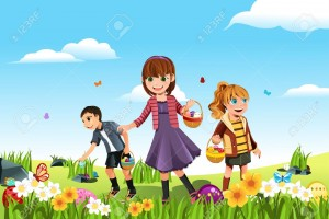 11764893-A-vector-illustration-of-kids-celebrating-Easter-by-going-on-an-Easter-egg-hunt-Stock-Vector